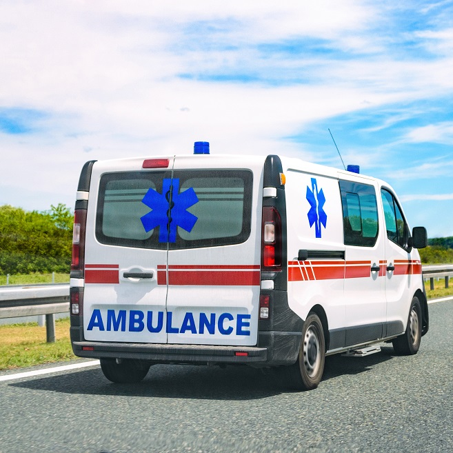 Ambulance van on road